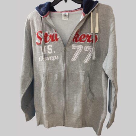 Zipper exportleftover loose fit big tall hoodie graphite grey-contrast hood-ilike-men large size hoodies online