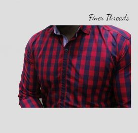 FT Red Contrast Check Slim Fit Casual Shirt (1)