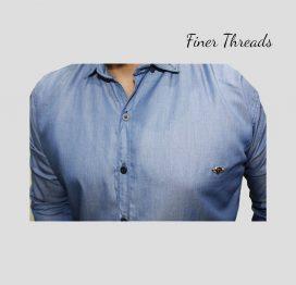 FT black plain ban slim fit casual shirt (2)