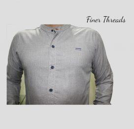FT light grey plain ban slim fit casual shirt (1)