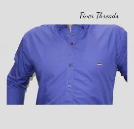 FT royal blue plain slim fit semi formal shirt (1)