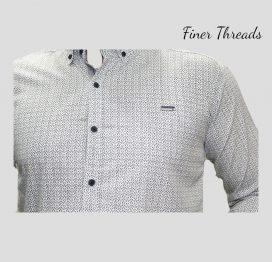 Grey detalied self design slim fit casual shirt (1)