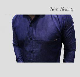 Indigo slim fit semi formal denim shirt (1)