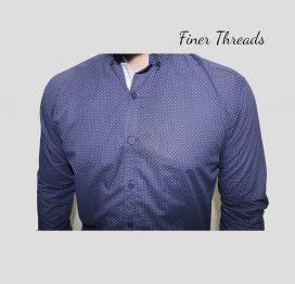Navy blue polka dotted slim fit semi formal shirt (1)