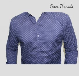 Navy blue thin floral dotted slim fit casual shirt (1)