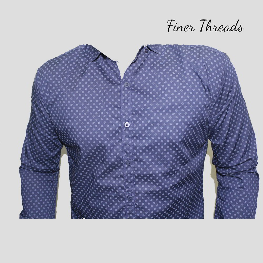 6a0868b3bf4d Navy Blue Thin Floral Dotted Slim Fit Casual Shirt - Buy Online in ...