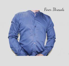 Royal Blue Ban Slim Fit Casual Shirt (1)