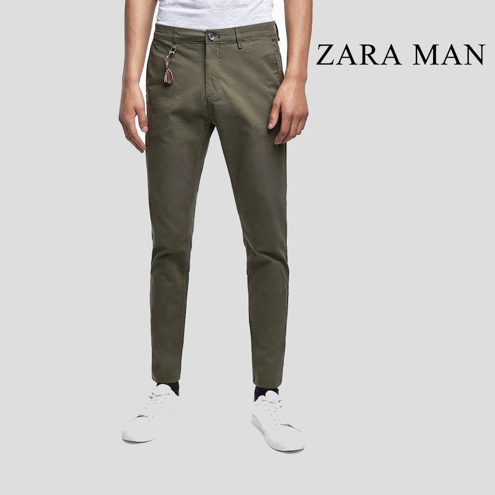 aac6a605 Zara Man Mild Green Slim Fit Stretchable Chino - Buy Online in Pakistan