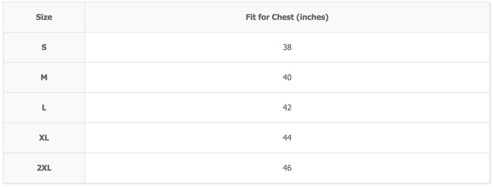 arino sando vest size chart