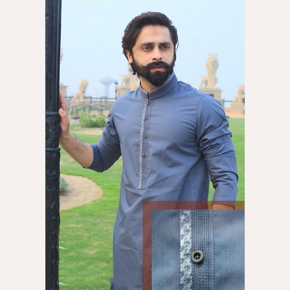 c57856edbd Blue Kurta For Men - Cotton and Wash & Wear - Shop Online in Pakistan