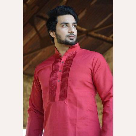 maroon design kurta men