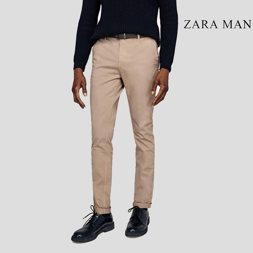 brillo de color diseño encantador mejor precio para Zara Man Rust Brown Stretchable Slim Fit Chino