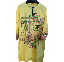 Lawn stiched yellow front full embroided shirt