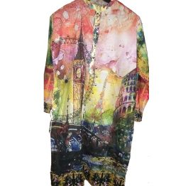 digital printed multi color kurti shirt