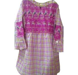 pink embroidered frok