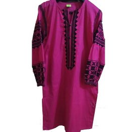 pink embroidered kurti shirt lawn