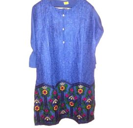 blue linen embrodiered kurti