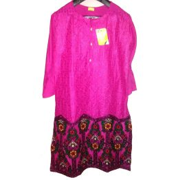 pink lined embrodiered kurti