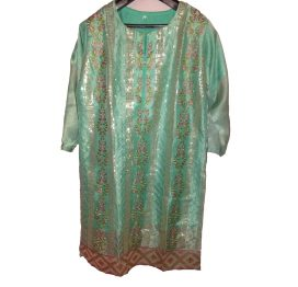 viscose-green-emboridered shirt