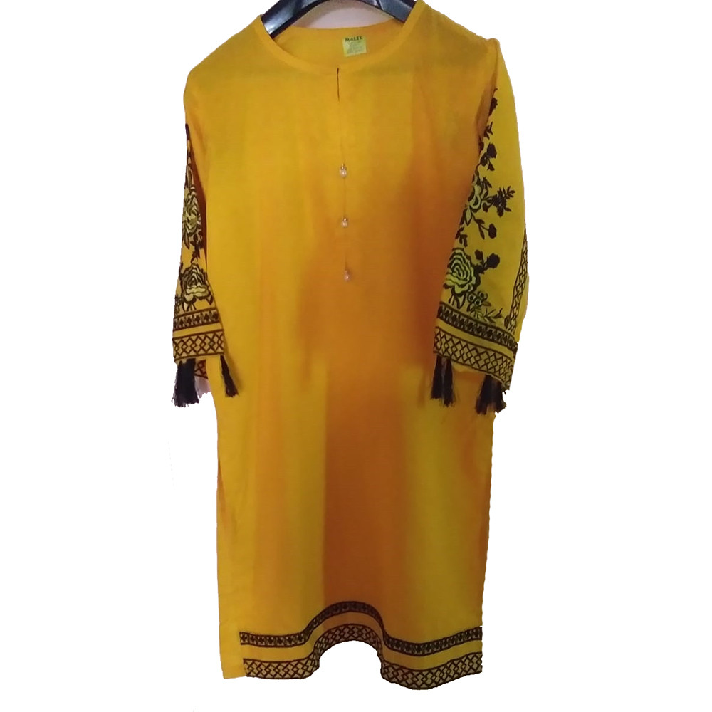 yellow linen embrodiered suit