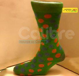 arino socks cotten green dotted