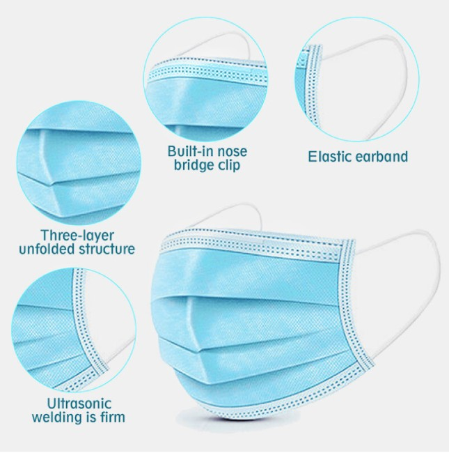 3 ply rubber band breathable face mask