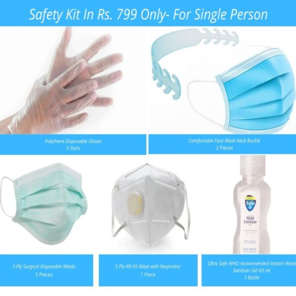 covid safety kit for single person pack of 19 items
