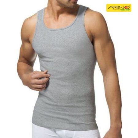 light grey export branded rib cotton vest