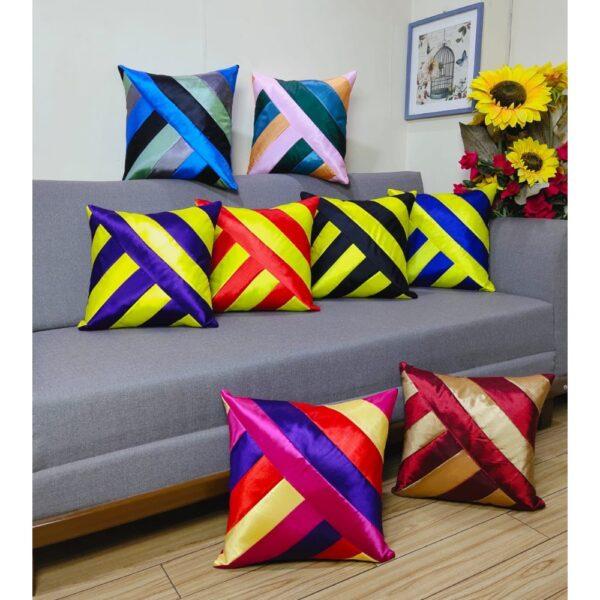 patch work silk cushions