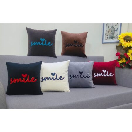 smile plain embroidered cushions