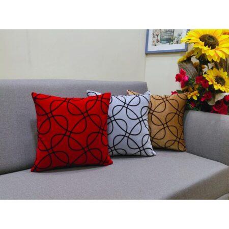 self textured velvet cushion