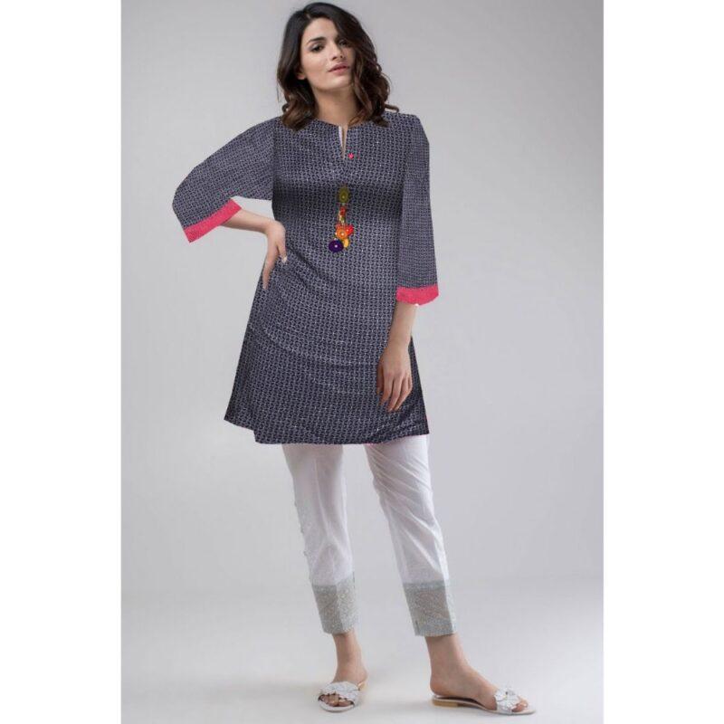 linen high quality navy blue printed shirt