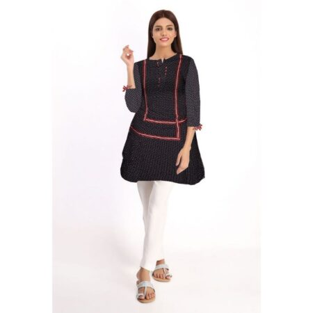 Printed Black & Red Piping Linen Stitched Shirt