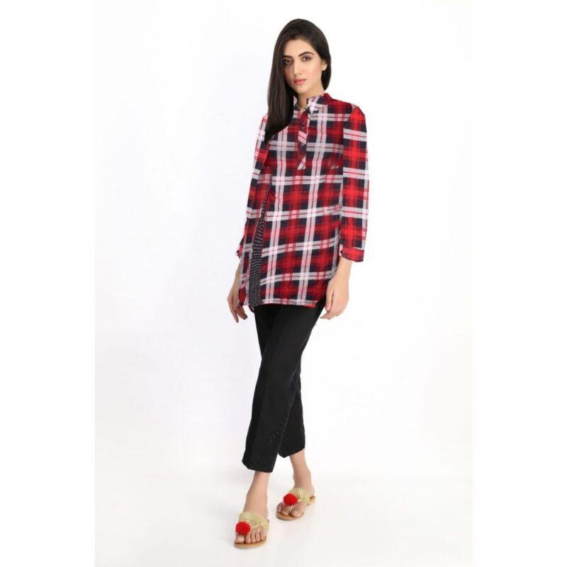 Girls designer shirts- collar shirt-red check shirt