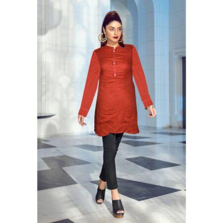 Redish orange pannel work premium quality khaddar shirt