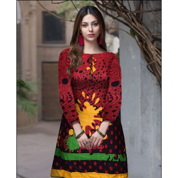 female-ladies-linen-khaddar-kurti-cotton trouser-embroidered trouser-white-black-check-house of calibre-women suiting-red & contrast yellow print neckline flower work-hand made kurti-online kurtian