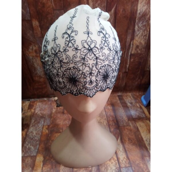 black and white lace cap