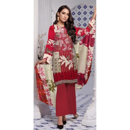 maroon pink embroidered suit maria b replica