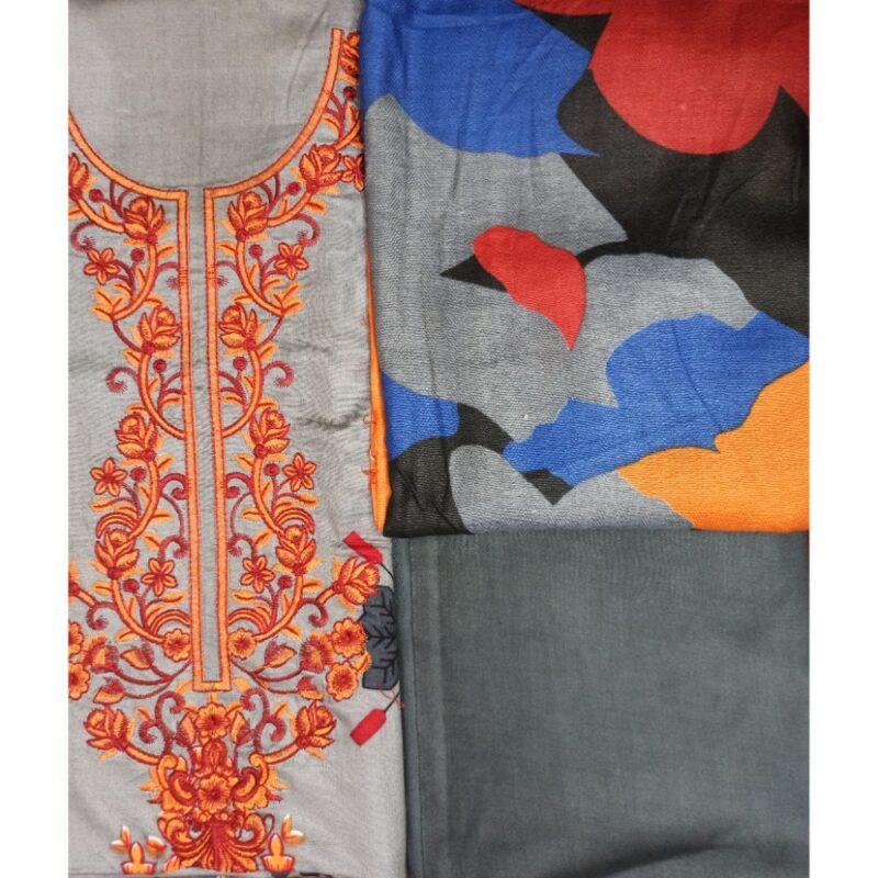multicolor shawl dupatta embroiderd grey suit