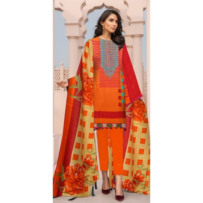 orange color linen suit