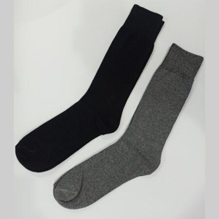 cotton socks pair of 2-grey & black-crew socks- Export quality socks-winter socks