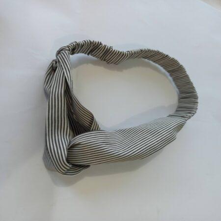 hairband-fabric elasticated handmade hair band-stretchable hairband-check grey cotton