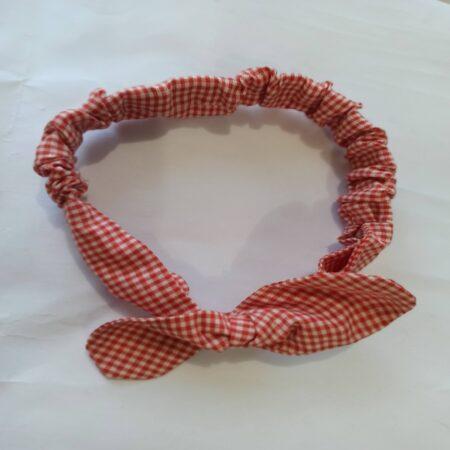 hairband-fabric elasticated handmade hair band-stretchable hairband-red check fabric
