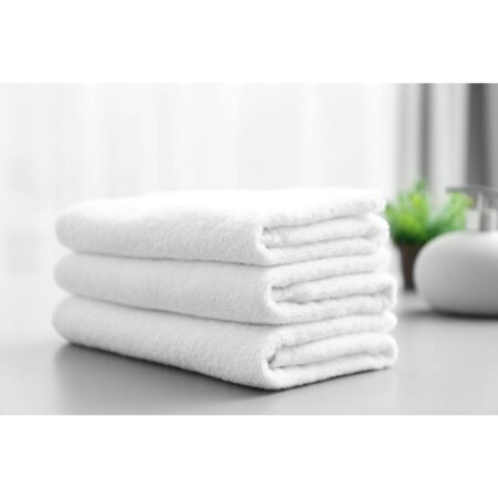 white pack of 3 ultra soft terry viscose cotton branded towels by towel showel (4)