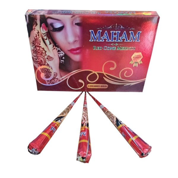 Pack of 3 Red Color Organic Cone Mehndi